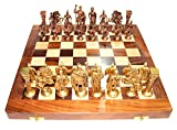 #3: Prop It Up Vintage (14 InchX14 Inch) Wooden Chess Board With Brass Roman Piece