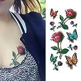 Oottati Tatuaggi Temporanei 3D Rose Farfalla (Set di 2)