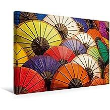 Calvendo Premium Textil-Leinwand 45 cm x 30 cm Quer, Am Nachtmarkt in Luang Prabang | Wandbild, Bild auf Keilrahmen, Fertigbild auf Echter Leinwand. Schirme in Allen Farben Lifestyle Lifestyle