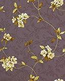 Blumentapete Landhaus Tapete EDEM 761-26 Floral Blumen in hochwertiger Prägequalität taupe schiefergrau grün-gelb olive