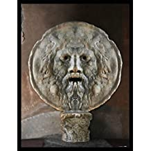 Roma Póster Impresión Artística con Marco (Madera DM) Negro - Bocca Della Verità (80 x 60cm)