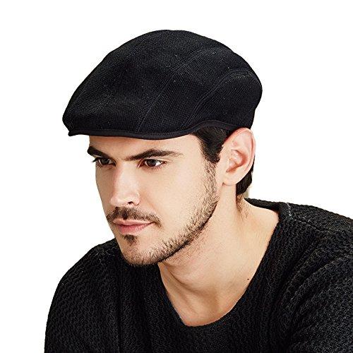 Kenmont Les hommes solide couleur unie lierre casquette chapeau pliage bouchon chauffeur de taxi gavroche chapeau (Noir)