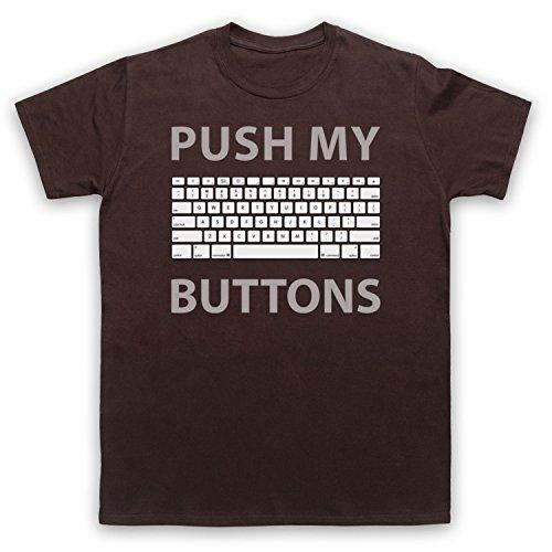 Push My Buttons Computer Geek Herren T-Shirt Braun