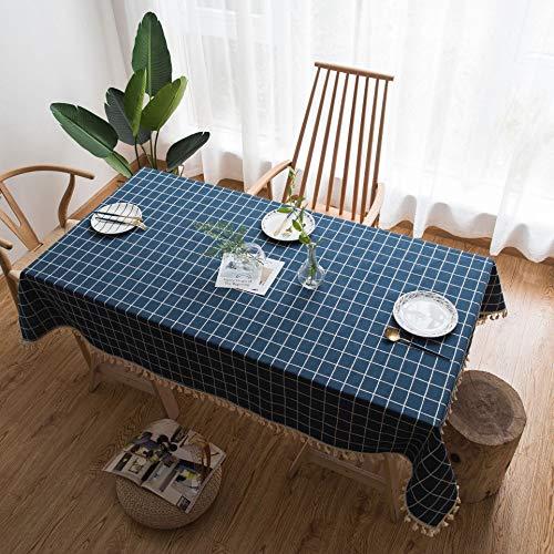 Wjydp tovaglia quadrata blu plaid decorazione in tessuto con frange in poliestere tinta unita tovaglia caffè dell'hotel,54.6x109.2in