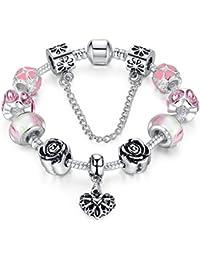 Pulsera del encanto de la serpiente Wowl con Pink Cubic Zirconia y bolas de cristal con el regalo pendiente del corazón para las muchachas de las mujeres