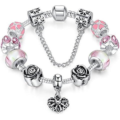 Bracciale Wowl Snake Charm con rosa zirconi e perle di vetro con cuore regalo del pendente per donne delle ragazze - Fascini Del Cuore Di Vetro