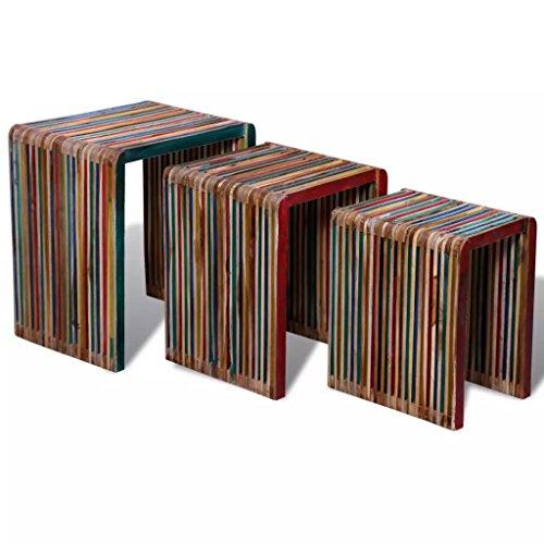 luckyfu modernes Design Möbel Tische Accent Tische Ende Tabellen mit Material: wiederverwerteter Teakholz Lange Schreibtisch oder Tisch Holz Satztische Nesting Tables bunt recyceltem Teak Set von 3 (Holz Nesting Tables)