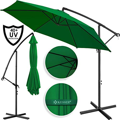 Kesser® Alu Ampelschirm Ø 350 cm ✔mit Kurbelvorrichtung ✔UV-Schutz ✔Aluminium ✔Wasserabweisende Bespannung - Sonnenschirm Schirm Gartenschirm Marktschirm Grün