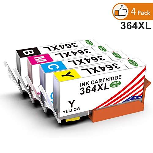 Toner Kingdom 4 Paquete (1 Set) Compatible HP 364XL 364 Cartucho de tinta Compatible para HP Photosmart 5510 5511 5512 5514 5515 5520 5522 5524 6510 6520 6512 6515 7510 7520 7515 B8550 B8558 B110c B010a C5370 C5383 C5388 C6324 C6380 D5460 D7560 C310a C410a B209a B210a HP Deskjet 3070A Impresora