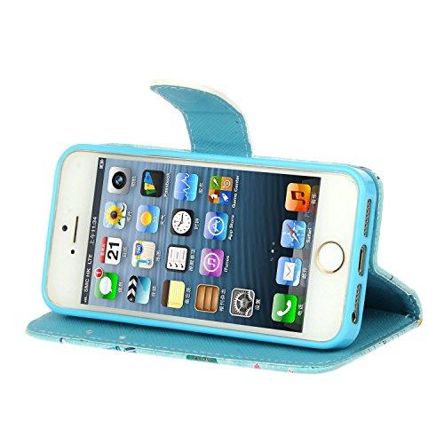 MOONCASE iPhone 6S Bookstyle Custodia [Foglie di banana] Portafoglio Protettiva in pelle Flip Cover Stand Case per iPhone 6 6S 4.7 Cartolina
