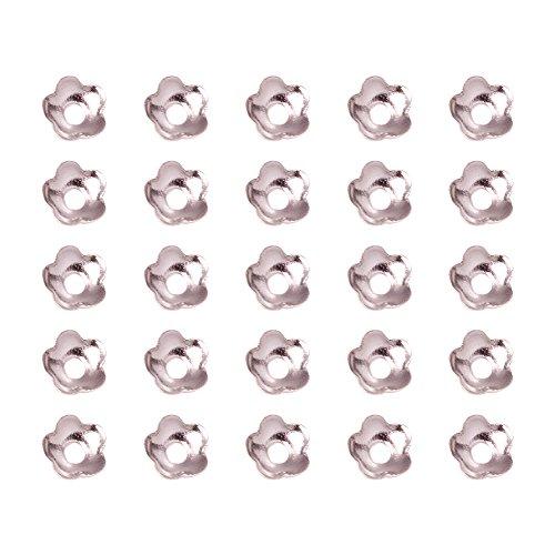 Lot de 10g Coupelles Calottes Fleurs 5-petales En Laiton Couleur Argent 4mm - Creation de Bijoux