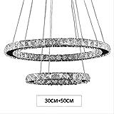 ZBSNDA Moderno Lustro Lampadario di cristallo a Led Illuminazione Lampadari a soffitto Lampada a sospensione Lampada a sospensione Lampada a sospensione, Luce calda, 2 anelli 30 + 50Cm