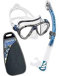 Cressi Big Eyes Evolution & Alpha Ultra Dry Professional Combo, Set per Immersioni e Snorkelling Unisex – Adulto, Trasparente/Blu