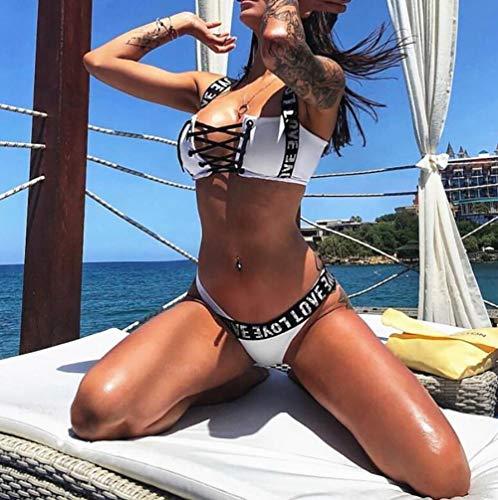 SHANGLY Frau Badeanzug Sexy Lace Up Verband Zwei Stück Brasilianisches Dreieck Bikini-Set,B,XXL -