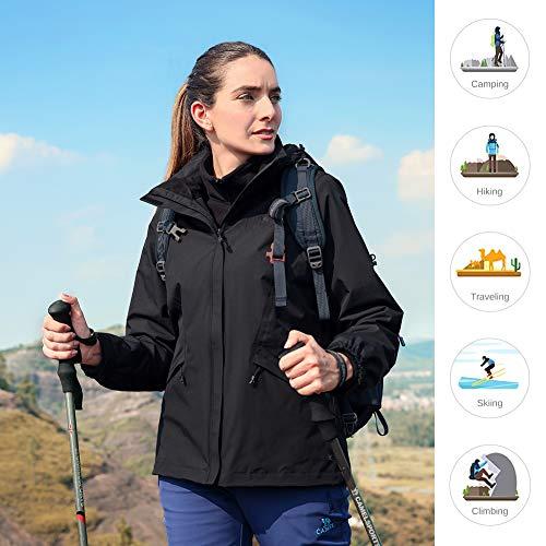 51KTQ0T2kWL. SS500  - CAMEL CROWN Women's Ski Jacket 3 in 1 Waterproof Windproof Softshell Mountain Jacket Fleece Lined for Hiking Snowboard…