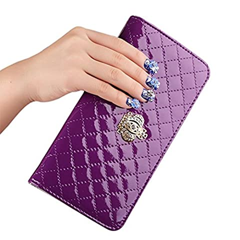 Hrph Women Long Wallet Crown Purse Bag With Coin Bags