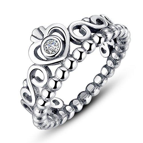 Presentski 925 Sterling Silber Herz Prinzessin Krone Modeschmuck Ring mit Stein Zirkonia für Damen Wedding (Nicht Modeschmuck)