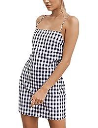 9cba6256dc92d Vestiti Donna Estivi Corti Eleganti Vintage Classico Quadretti Senza Maniche  Abbigliamento Dresses Senza Schienale Moda Casual