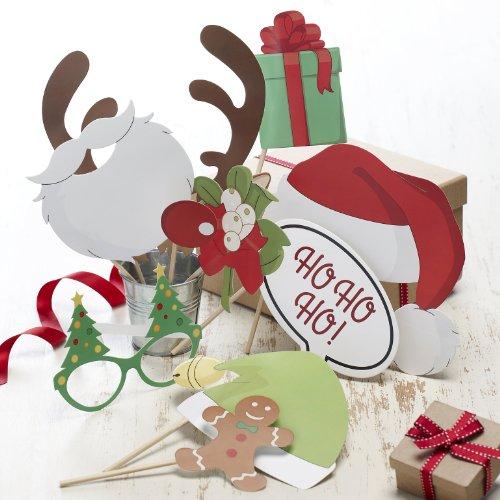Weihnachtliches Photo Booth, Requisiten, Fotozubehör, Party Accessoires für Fotoecke - 10 teilig