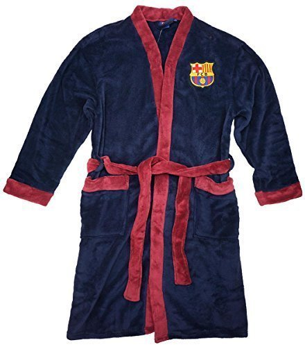 Herren Offiziell Barcelona Fußball FCB FLEECE Bademantel Bademantel Größen M L XL - Blau, Large (Fleece-footy)