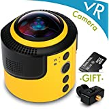 DETU 360grado Spherical Panorama VR cámara con libre 16G Micro SD tarjeta para realizar 360Video, portable 360Cam cámara digital con aplicación gratuita y adaptador de montura