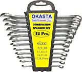 #10: OKASTA 12 pcs Ratchet Wrench Mechanic Tool Car Vehicle Garage Spanner 8-19mm Tool Set