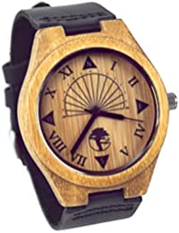 Viable Harvest Reloj de Madera de Los Hombres, Diseño único del Reloj de Sol, Bambú Natural, Cuero Negro Genuino y Caja de Regalo