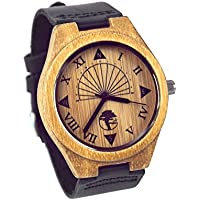 Viable Harvest Men's Wood Watch, Unique Sundial Design, Natural Bamboo
