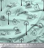 Soimoi Verde terciopelo Tela farola y el ciclo de cosecha texto tela estampada de 1 metro 58 Pulgadas de ancho