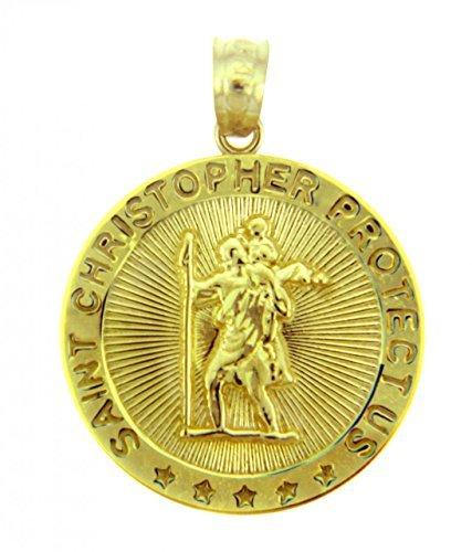 10K Gelb Gold Saint Christopher Medaille katholischen Charm Traveler Schutz Anhänger von Saint Collection
