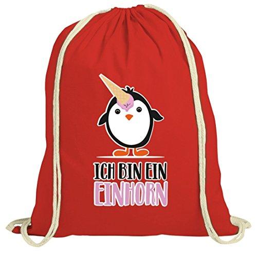 Pinguine Tierfreund Unicorn natur Turnbeutel mit Pinguin - Ich bin ein Einhorn Motiv Rot Natur