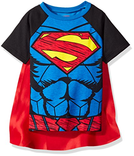 Superhelden Cape Kind Kostüm Blau - DC Comics Superman Kleinkinder Jungen T-Shirt & Cape Set, Blau 7 Jahre