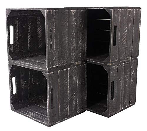 9X Vintage-Möbel 24 Neue graue Holzkiste Weiss Grey wash für IKEA Kallax Regal Expedit 33cm x 37,5cm x 32,5cm Einsätze Obstkiste Weinkiste weiß Aufbewahrungsbox Vintage-Look Würfel Aufbewahrungskiste