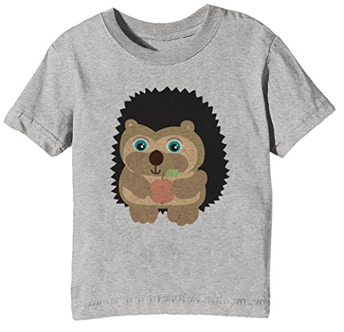 Linda Erizo Niños Unisexo Niño Niña Camiseta Cuello Redondo Gris Manga Corta Tamaño XL Kids Unisex Boys Girls T-Shirt Grey X-Large Size XL