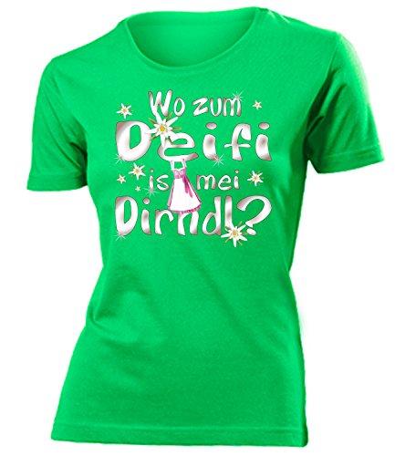 Wo zum deifi is MEI Dirndl 1280 Oktoberfest Outfit Artikel Fasching Kostüm T Shirt verkleidung Wiesn Frauen Damen Mädchen Geschenk Grün XXL