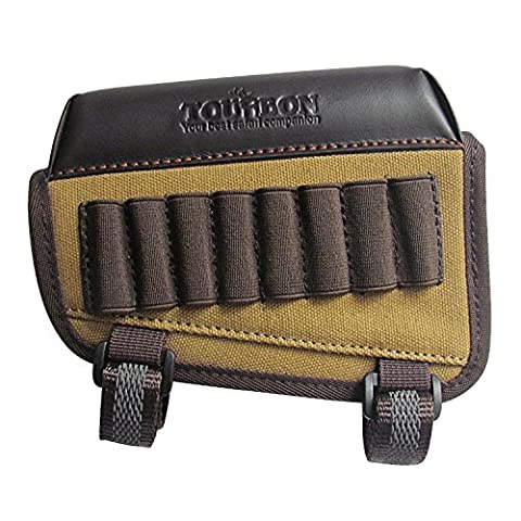 Tourbon Hunting Gun Buttstock Cheek Rest Pad Rifle Ammo Holder Left Hand - Canvas and Leather