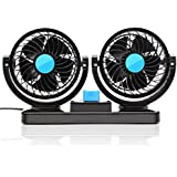 KanCai® Doble cabeza 12 V coche eléctrico ventilador, 360 grado giratorio para coche Auto aire de refrigeración termostato ventilador de camión SUV RV barco Auto Vehículos