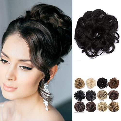 Chignon capelli finti extension elastico nero updo toupet donna hair bun ponytail scrunchie parrucchino posticci ricci, nero naturale