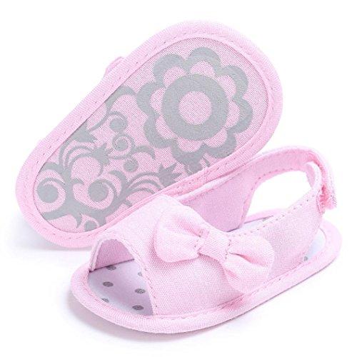 Bonjouree Chaussures Bébé Fille Souple à Bowknot Sandales de Berceau Rose