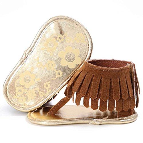 Bonjouree Sandales Pompon Bébé Filles Chaussures Souples Antidérapant Ete pour Enfant Filles Marron