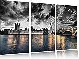 wunderschöne Westminster Abbey mit Big Ben schwarz/weiß auf 3-Teiler Leinwandbild 120x80 Bild auf Leinwand, XXL riesige Bilder fertig gerahmt mit Keilrahmen, Kunstdruck auf Wandbild mit Rahmen, gänstiger als Gemälde oder Ölbild, kein Poster oder Plakat