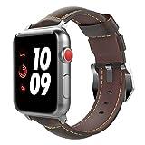 TiMOVO Correa para Apple Watch 42 mm, Correa de Reemplaz de Cuero Genuino con Orejetas de Reloj Aptas para iWatch 42 mm Serie 3 Serie 2 Serie 1, Café Oscuro