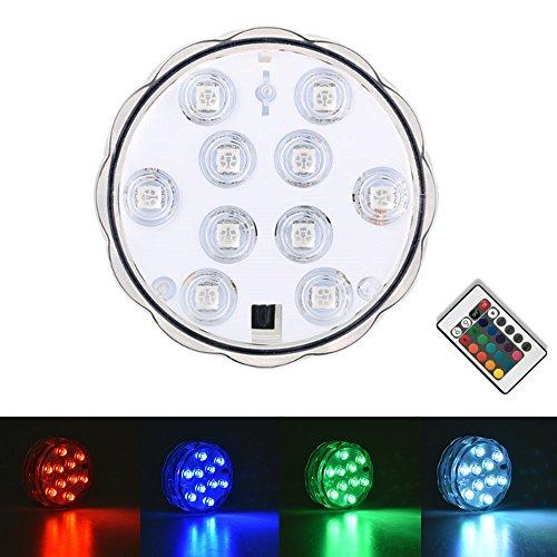 Janecrafts 1 Stück RGB LED Unterwasserbeleuchtung Aquarium Unterwasserlicht Unterwasser Strahler Teichbeleuchtung Unterwasserleuchte Tauchlampe 10 LEDs mit Fernbedingung - Bunt und Wasserdicht