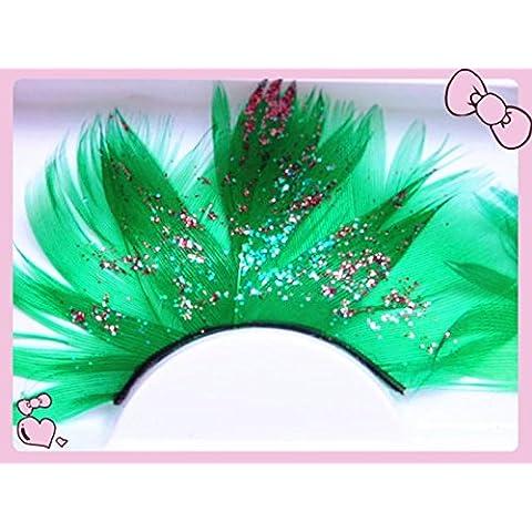 GAOMEI2 grande verde teatrale Halloween glitter paillettes piuma ciglia finte ciglia