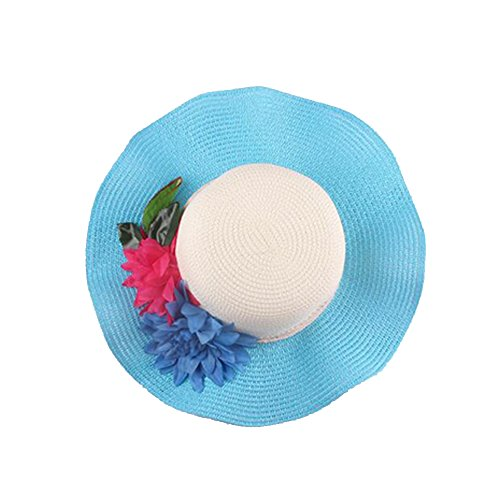 Surker Femmes Mode Grand Brim Anti-Sun Sun Hat plage Hat Bleu ciel