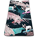 best& French Bulldog On Skateboard Multi-Purpose Microfiber Towel Ultra Compact Super Absorbent and Fast Drying Sports Towel Travel Towel Beach Towel Perfect for Camping, Gym, Swimming.