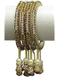 MUCH MORE Dangle Look Golden- Silver Color Lac Bangle Women Wedding