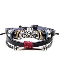 SUYA pulseras,2pcs, cuero pulsera de cuentas, accesorios patrón hueco flor, joyería retro, pulsera creativo, regalo creativo