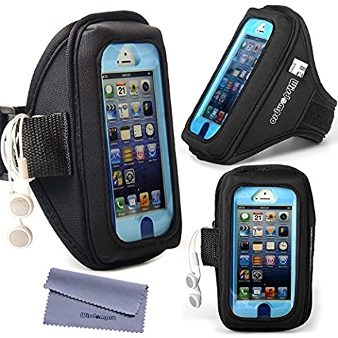 wisdompro® iPhone 5S/5/5 C/se & brazalete para iPod Touch 5/6 para OtterBox Defender/Commuter Series/LifeProof Cases [brazalete con los auriculares Organizador & Llavero], compatible con iPhone 5, iPhone 5s, iPhone 5c, iPhone SE, color