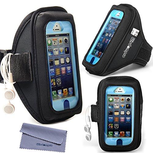 iPhone 5s /5 /5c & iPod Touch 5 /6 Otterbox / Lifeproof Armband mit Kopfhörer-Organizer und Schlüsselhalter für Otterbox Defender oder Commuter Series Oder Lifeproof Cases von Wisdompro® - Schwarz - Box Ipod Case Otter 5s
